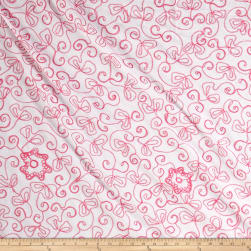 Embroidered Cotton Floral Pink Fabric