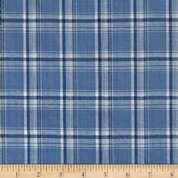 Cotton Yarn Dye Chambray Box Plaid Blue Silver