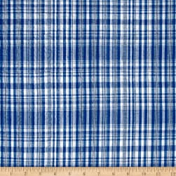 Cotton Seersucker Plaid Navy/White Fabric