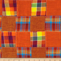 Cotton Patchwork Madras Multi Orange Fabric