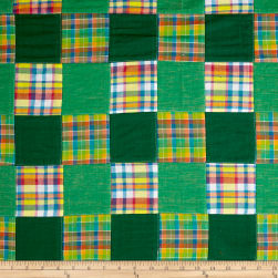 Madras Patchwork Plaid Green/Yellow/Pink Fabric