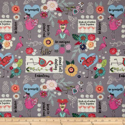 Flamingo Fever Flamingo Fever Word Fabric