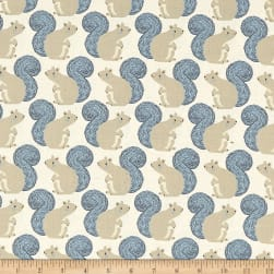 Cotton + Steel Magic Forest Squirrels Neutral Fabric