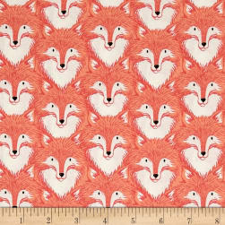 Cotton + Steel Magic Forest Foxes Coral Fabric