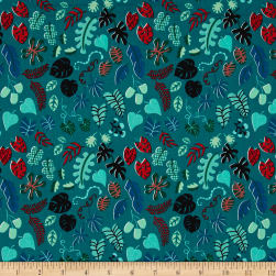 Cotton + Steel Lagoon Leafy Wonder Teal Fabric