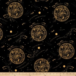 Cotton + Steel Rifle Paper Co. Menagerie Lawn Celestial Metallic Navy Fabric