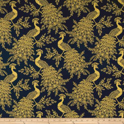 Cotton + Steel Rifle Paper Co. Menagerie Metallic Canvas Royal Peacock Navy