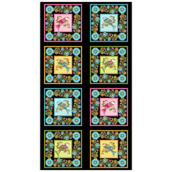 "Lori's Art Garden Love Me Love Me Not 24"" Panel Black"