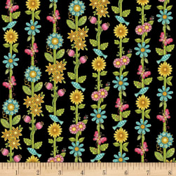 Lori's Art Garden Garden Floral Stripe Black Fabric