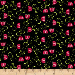 Lori's Art Garden Sweet Blossom Black Fabric