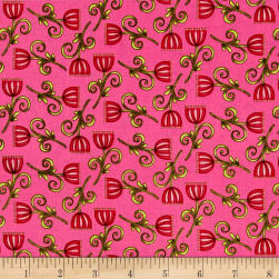 Lori's Art Garden Sweet Blossom Hot Pink Fabric