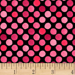 Lori's Art Garden Garden Dots Pink/Black Fabric