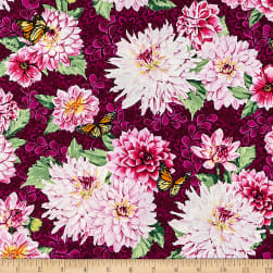 Newport Place Westcliff Floral Aubergine Fabric