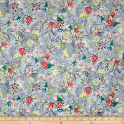 Serene Spring May Flowers Fog Metallic Fabric