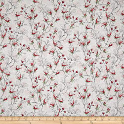 Serene Spring Budding Blossoms Pearl Pink Metallic Fabric