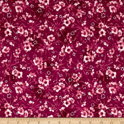 Serene Spring Pristine Petals Cool Cherry Metallic Fabric
