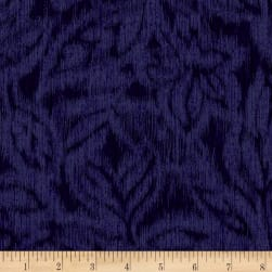Miyako Graphic Leaf Dark Blue Fabric
