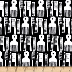 Kaufman Build A Bouffant Digital Print Combs Black