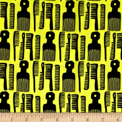 Kaufman Build A Bouffant Digital Print Combs Yellow