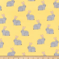 Kaufman Woodland Hideaway Flannel Bunnies Yellow Fabric