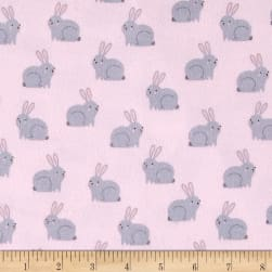 Kaufman Woodland Hideaway Flannel Bunnies Pink Fabric
