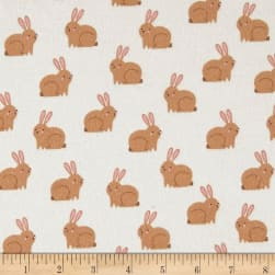 Kaufman Woodland Hideaway Flannel Bunnies Ivory Fabric