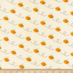 Kaufman Woodland Hideaway Flannel Bees Ivory Fabric