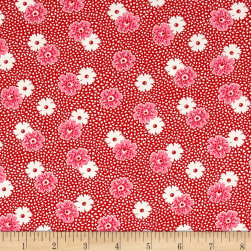 Kaufman Windowsill Garden Flower Red Fabric
