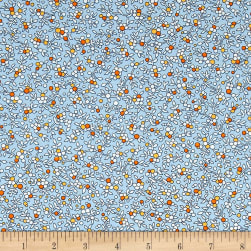 Kaufman Windowsill Garden Stems Spread Lake Fabric