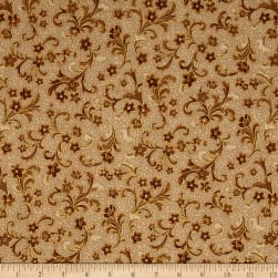 Kaufman Villa Romana Metallics Spray Spice Fabric