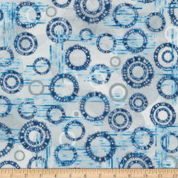 Kaufman Microlife Textures Digital Prints Circles Blue Fabric