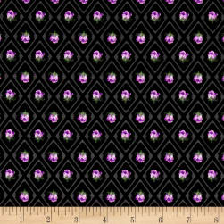 Kaufman Florentina Rose Trellis Flower Black Fabric