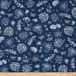 Kaufman Botanical Beauty Digital Print Flowers Indigo Fabric