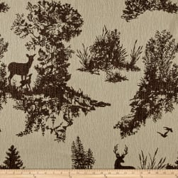 Mountain Cabin Hillside Deer Toile Chocolate Fabric