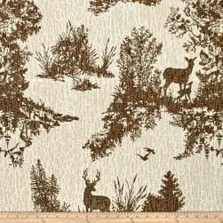 Mountain Cabin Hillside Deer Jacquard Toile Pewter Fabric
