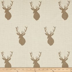 Mountain Cabin White Tail Jacquard Mount Taupe Fabric