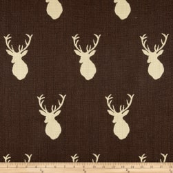 Mountain Cabin White Tail Jacquard Mount Chocolate Fabric