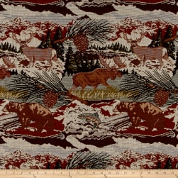 Mountain Cabin Scenic View Jacquard Navy Cherry Fabric