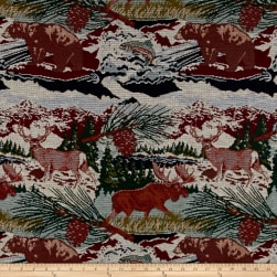 Mountain Cabin Scenic View Jacquard Pebble Fabric