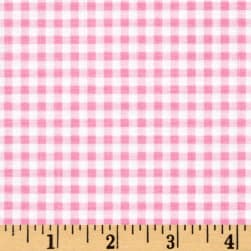 Flutter the Butterfly Gingham Check Pink Fabric