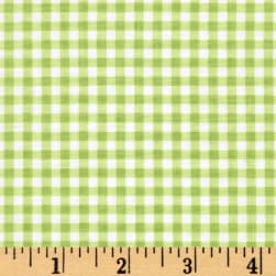 Flutter the Butterfly Gingham Check Kiwi Fabric