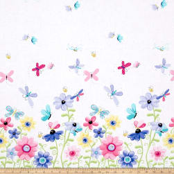 Flutter the Butterfly Flutter Double Border Lilac Fabric