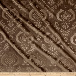 Damask Embossed Velvet Taupe Fabric