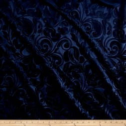 Embossed Velvet Scroll Navy Fabric