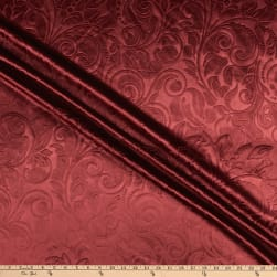 Embossed Velvet Scroll Burgundy Fabric
