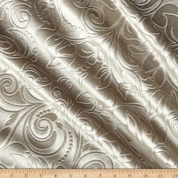 Embossed Velvet Scroll Sand Fabric