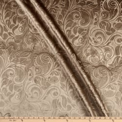 Embossed Velvet Scroll Taupe Fabric