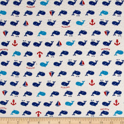Cosmo Beach Life Surf Whales Plisse White Fabric