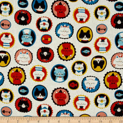 Cosmo Dreamers Cat Heads Cream Fabric