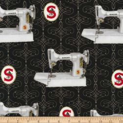Kaufman Sewing With Singer Metallic Machines Black Fabric